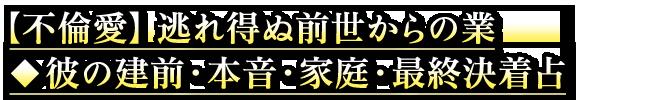 【不倫愛】逃れ得ぬ前世からの業◆彼の建前・本音・家庭・最終決着占