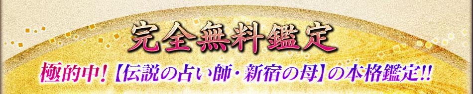 完全無料鑑定 極的中!【伝説の占い師・新宿の母】の本格鑑定!!